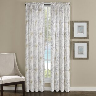 Casablanca Nature Floral Semi Sheer Rod Pocket Curtain Panel Set Of 2