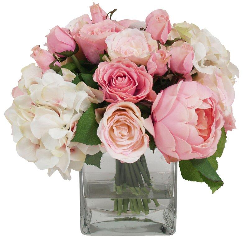 Pink white assorted rose in water glass vessel reviews joss main pink white assorted rose in water glass vessel mightylinksfo