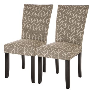 Ivy Bronx Albarado Herringbone Upholstered Dining Chair (Set of 2)