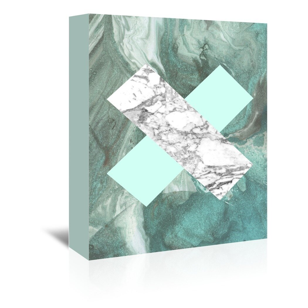 Ivy Bronx Geometric Marble X Graphic Art On Wrapped Canvas Wayfair