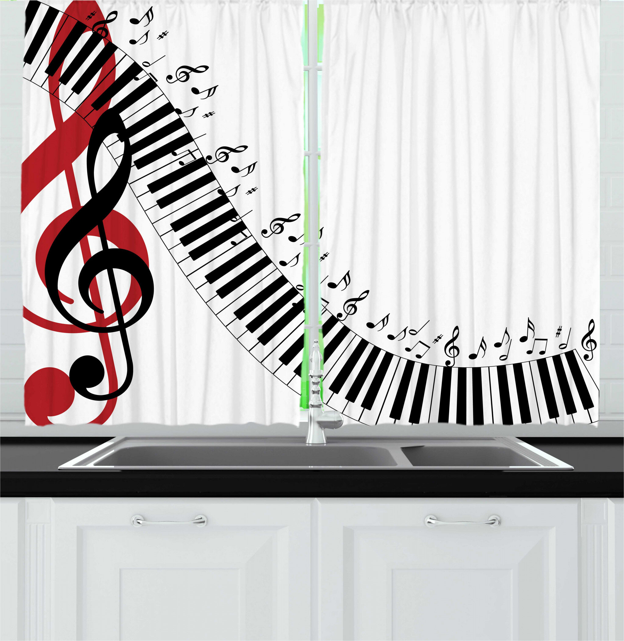 East Urban Home 2 Piece Music Treble Clef Abstract Theme Motif Pattern On Plain Backdrop Kitchen Curtain Set Wayfair