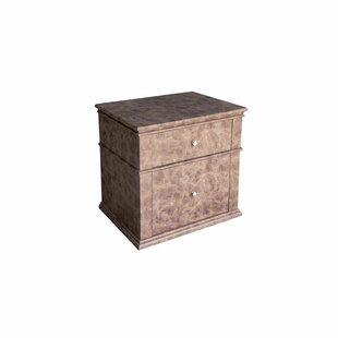 Graber Leather Upholstered Wooden 2 Drawer Nightstand by Gracie Oaks