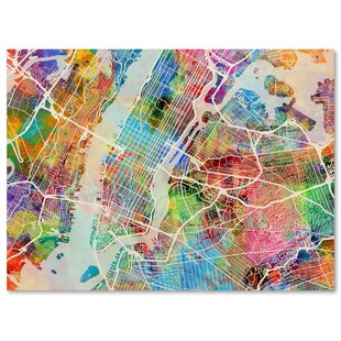 Modern world map wall art allmodern new york city street map by michael tompsett graphic art on wrapped canvas gumiabroncs Gallery