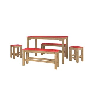 Wiggin 5 Piece Solid Wood Dining Set by Millwood Pines Coupon