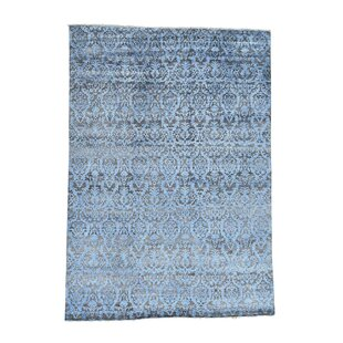 One Of A Kind Ramblewood Damask Hi And Lo Hand Knotted Chocolate Brown Denim Blue Area Rug