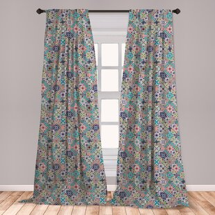 Ambesonne Moroccan 2 Panel Curtain Set, Complex Colorful Moroccan Tile  Motifs Antique Floral Ornaments Design, Lightweight Window Treatment Living  ...
