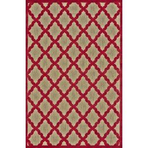 Fairlaine Tan/Red Indoor/Outdoor Area Rug