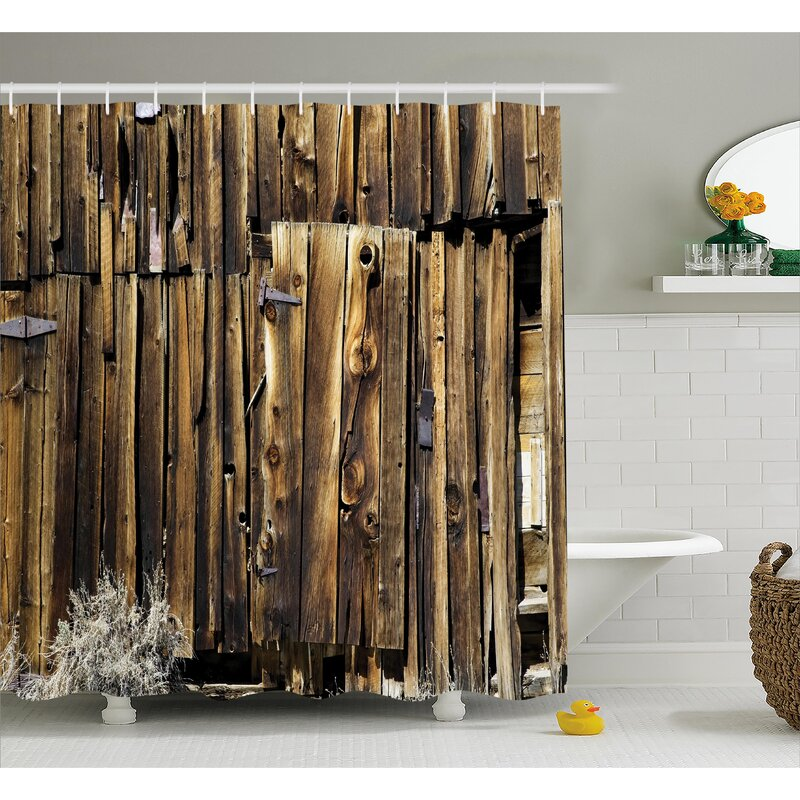 Rustic Oak Barn Timber Door Shower Curtain