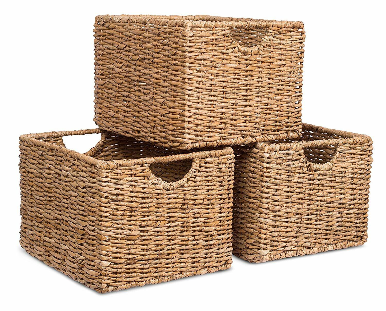 Storage Shelf Organizer Wicker Basket