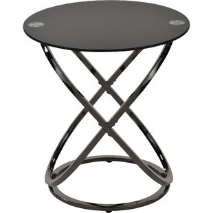 Ivy Bronx Jerrell Glass and Metal End Table