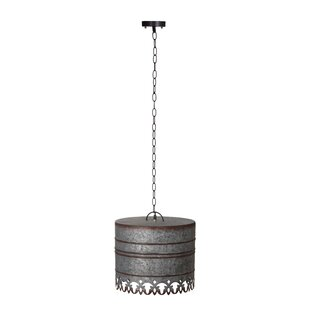 Gracie Oaks Rayne Iron Round Ceiling 1-Light Drum Pendant