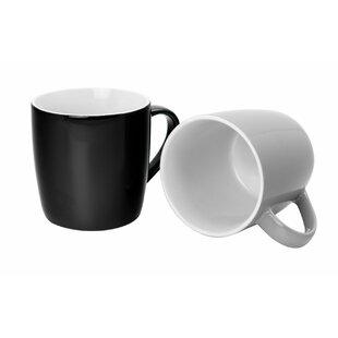 Argon Tableware Tea Coffee Ceramic Contemporary Coloured Mugs 340Ml Red Black Grey Set Of 6 (Set of 6)