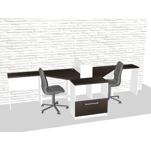TeamCENTERoffice Triangular Corner 6 Piece L-Shaped Desk Office Suite