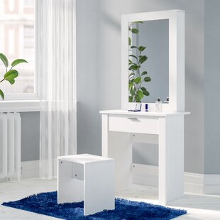 Gumm Sliding Door Dressing Table Set With Mirror By Wrought Studio