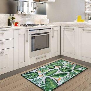 Roman Green Leaves Floor Kitchen Mat