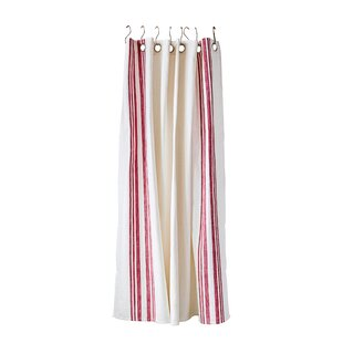 Sav Stripe Square Cotton Shower Curtain With Metal Grommets