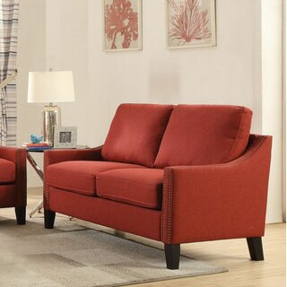 Loveseat, Red Linen by Red Barrel Studio SKU:BC601250 Purchase
