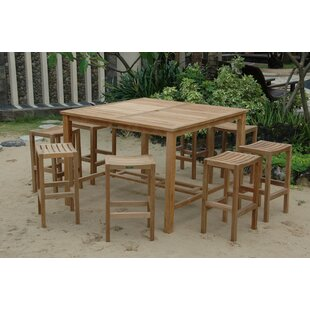 Windsor 9 Piece Teak Bar Height Dining Set