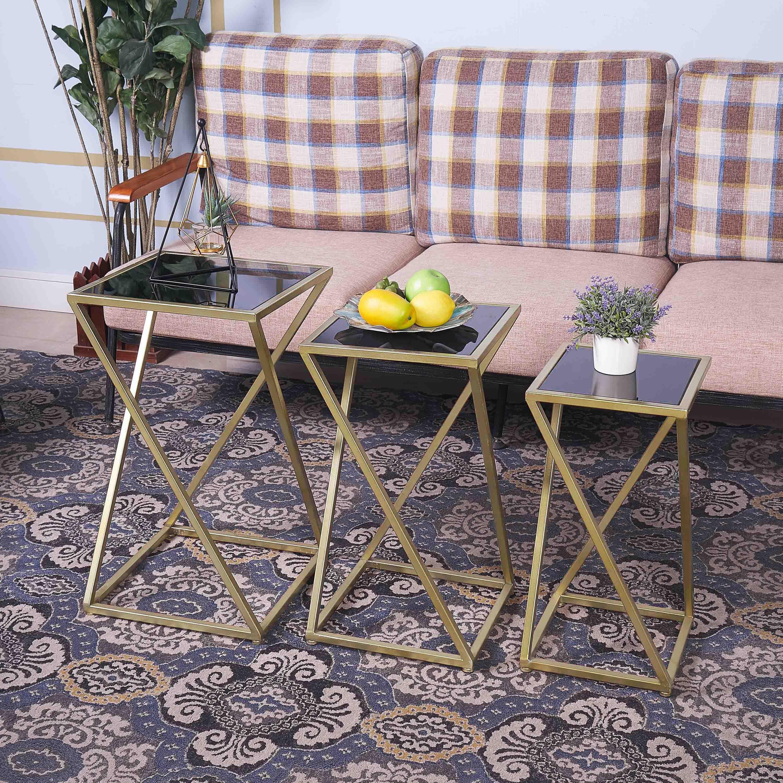 Mercer41 Tennille Glass Top Frame Nesting Tables Wayfair