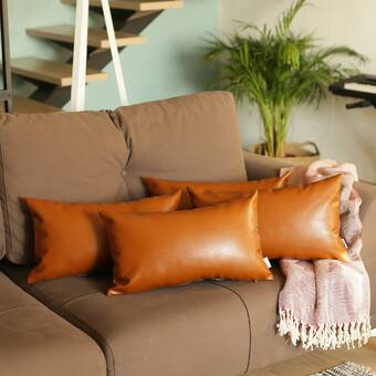 Foundry Select Towry Square Faux Leather Pillow Cover Wayfair Ca