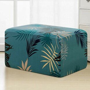Leaves Printed Storage Rectangle Ottoman Slipcover