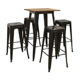 Weisinger Pub 5 Piece Bar Height Solid Wood Dining Set by 17 Stories