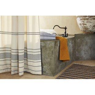 Rippled Stripe Cotton Single Shower Curtain by Coyuchi