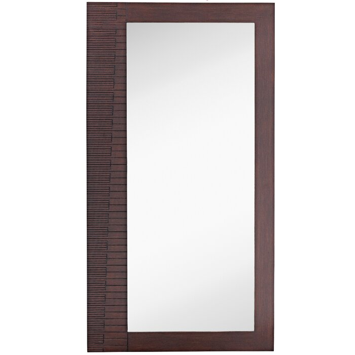 Large Rectangular Modern Dark Brown Full Length Wood Frame Wall Mirror