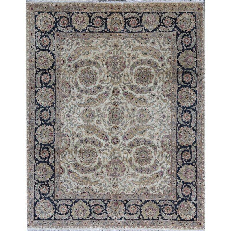 9 10 Wool Ivory Black Area Rug Wayfair