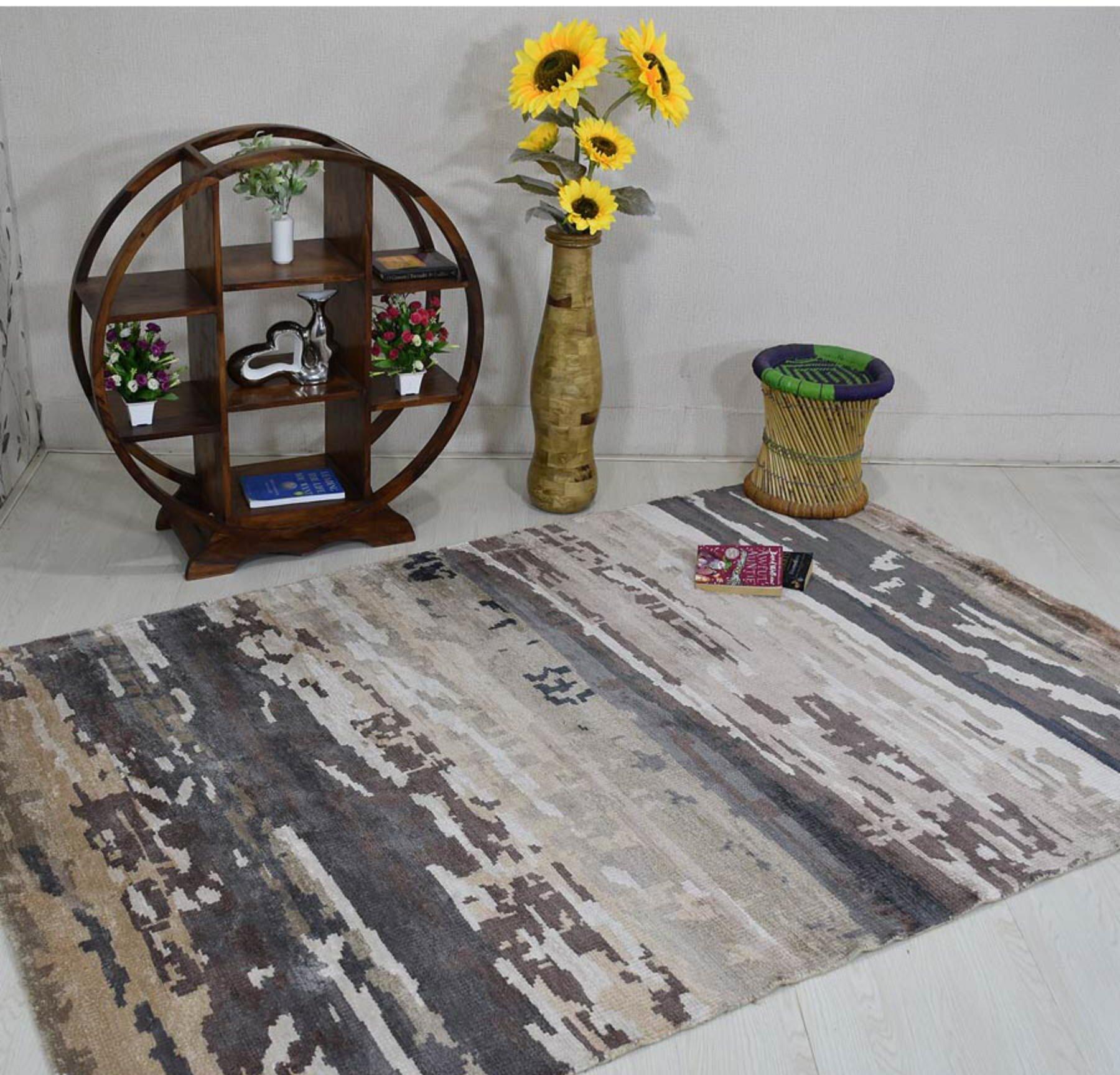 Brayden Studio Dalvey Abstract Hand Knotted Gray Area Rug Wayfair