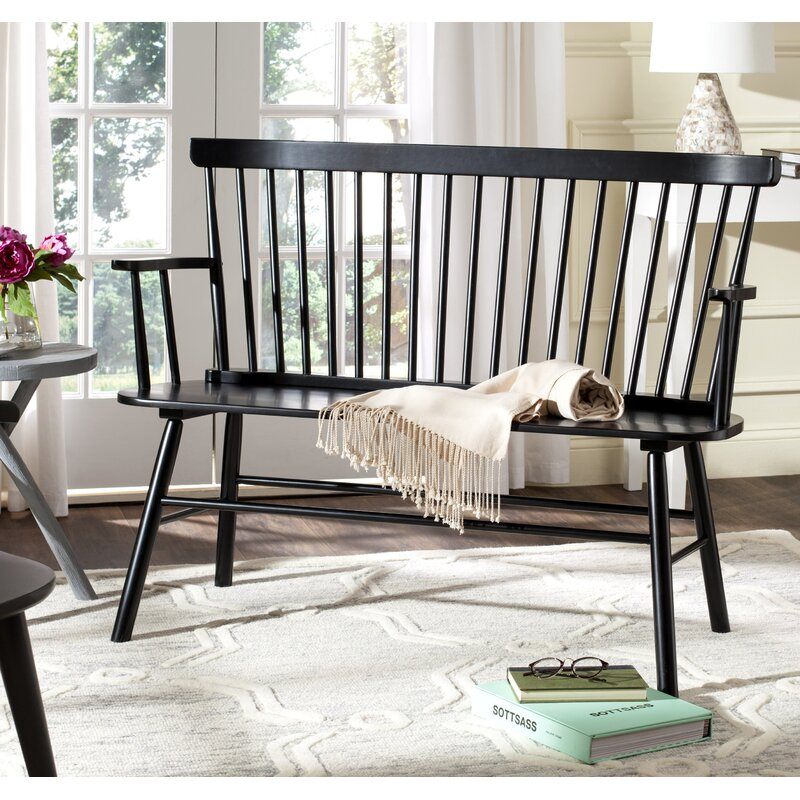 Spindle Solid Wood Bench in black has Shaker style and is perfect for a modern farmhouse style porch, living room, porch, entry, or mud room. #benches #furniture #blackbench #farmhousebench #porchdecor #outdoordecor #farmhousestyle