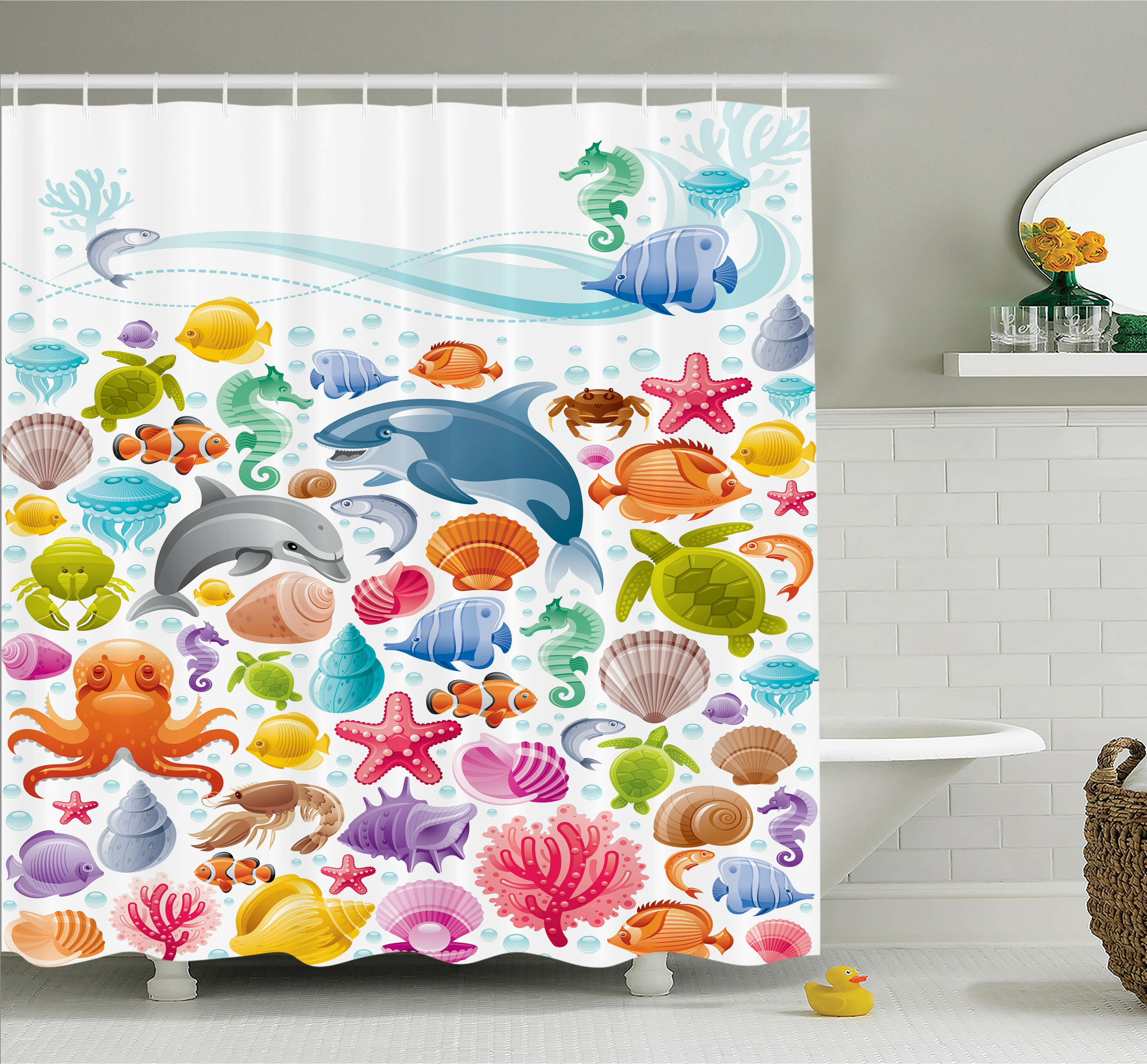 Ambesonne Kids Tropical Ocean Animals Shower Curtain Set & Reviews ...