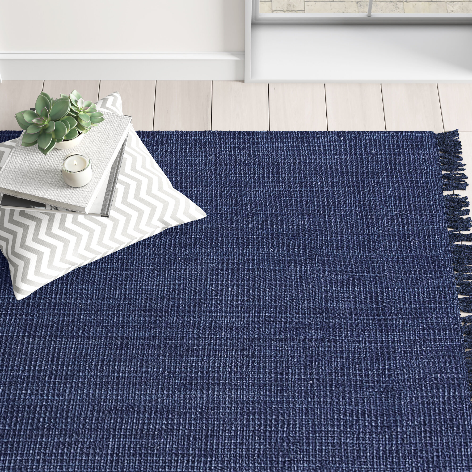 Charleigh Handmade Tufted Jute Navy Blue Area Rug Joss Main