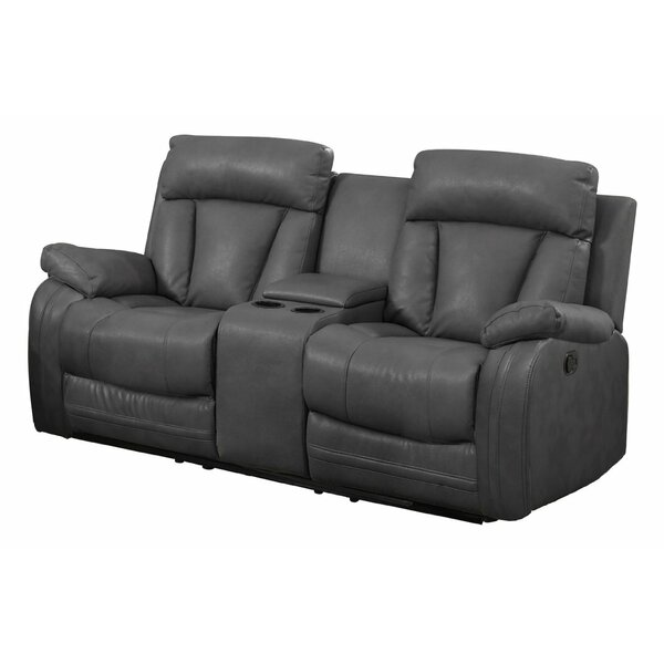 Amazing NathanielHome Benjamin Leather Reclining Sofa With Console U0026 Reviews |  Wayfair