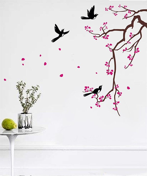 pop decors cherry blossom branch flower wall decal & reviews