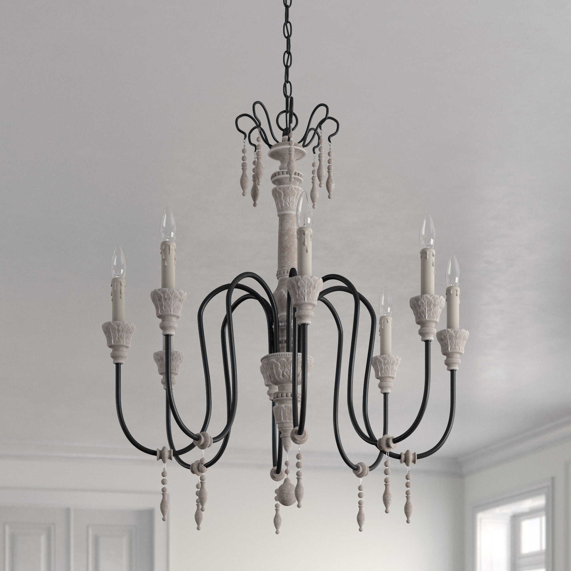 Ophelia Co Ailsa 8 Light Candle Style Classic Chandelier With Beaded Accents Reviews Wayfair