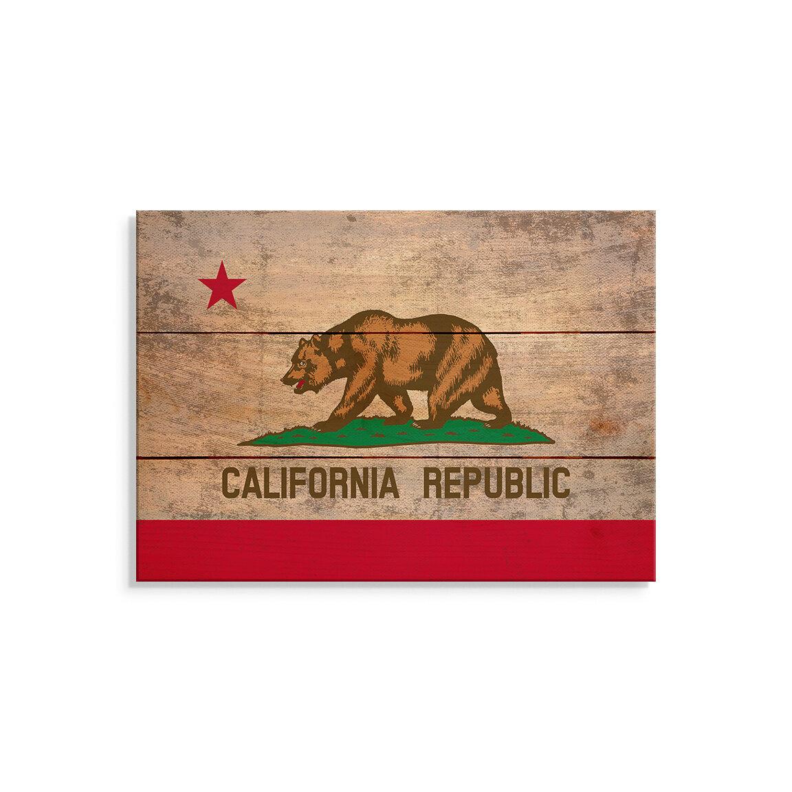 Trinx One Of A Kind Original California State Flag Unframed Print On Wood Wayfair