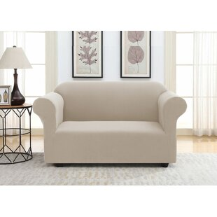 Solid Pique Box Cushion Loveseat Slipcover
