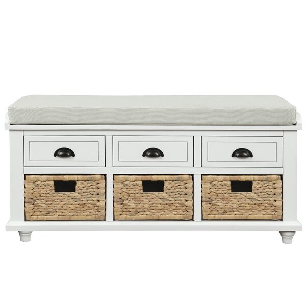 greenline rustic storage bench with 3 drawers and 3 rattan