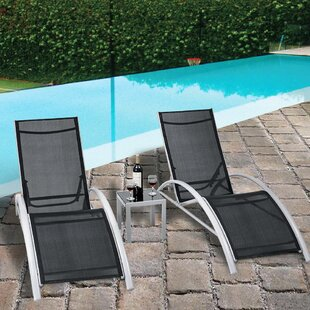 Jose 3 Piece Outdoor Patio Pool Lounger Reclining Chaise Lounge Set With Table