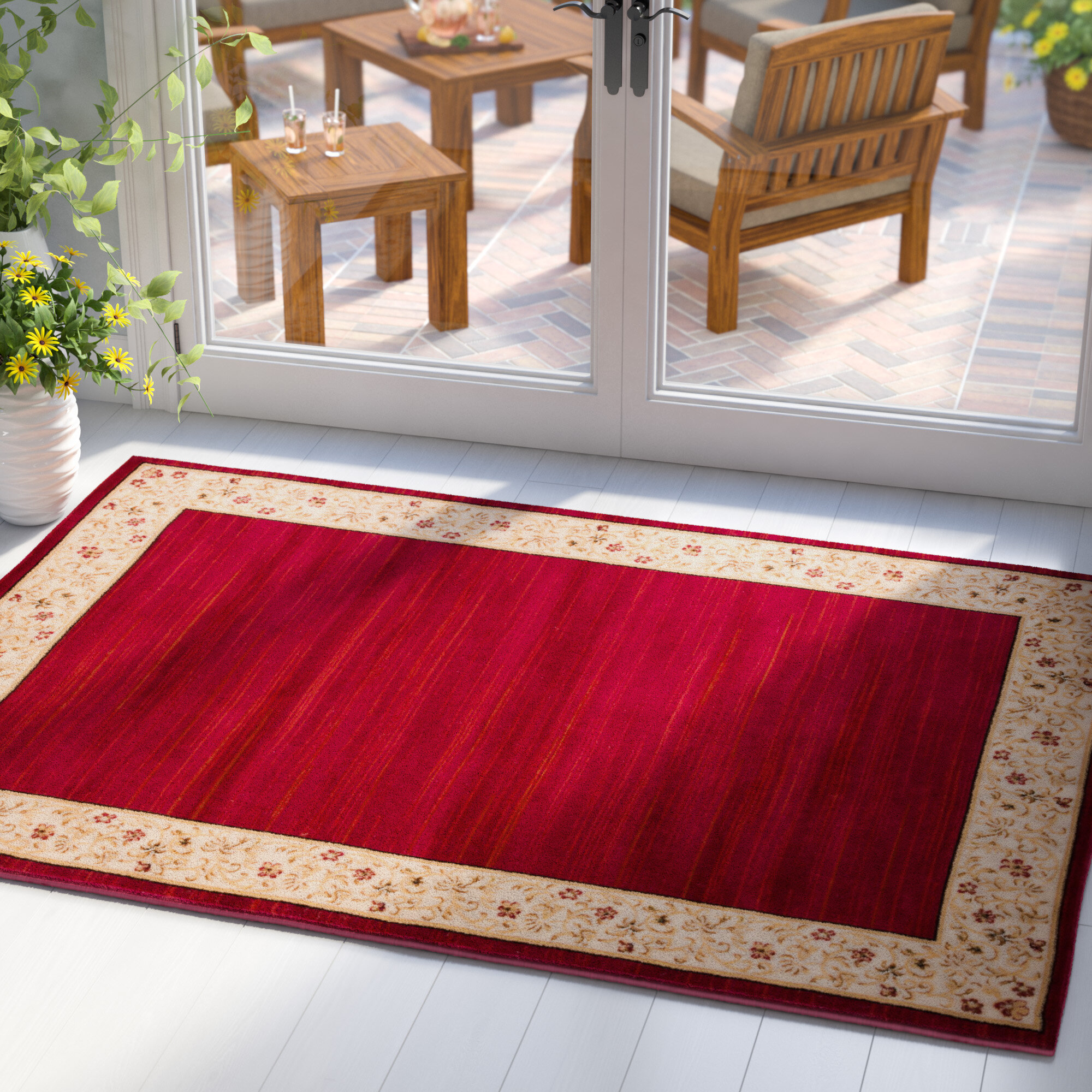 Winston Porter Capel Red Area Rug