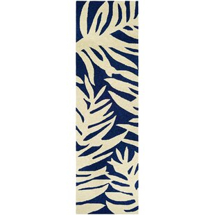 Amberjack Palms Hand-Woven Navy/Beige Indoor/Outdoor Area Rug