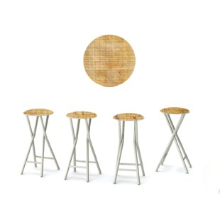 30'' Patio Bar Stool with Cushion (Set of 4)