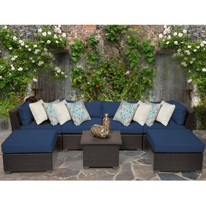 Barbados 7 Piece Rattan Sectional Set with Cushions