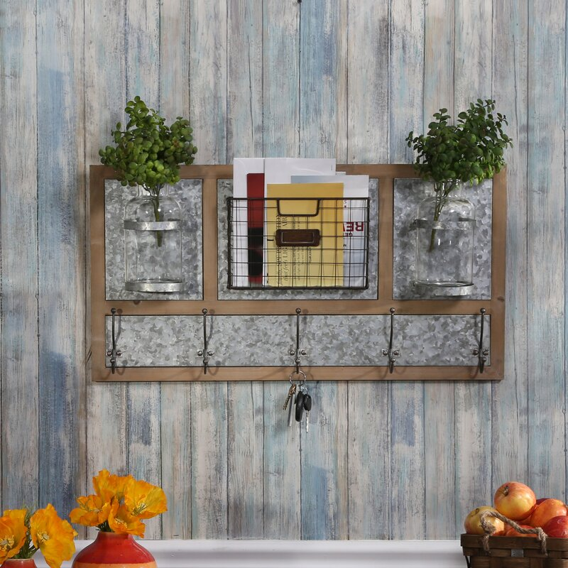 Gracie Oaks Matson 30 X 155 X 5 Wood Tin Wall Organizer With Key