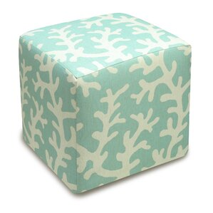Coral Upholstered Cube Ottoman by 123 Creations