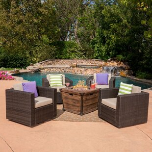 Balhi 5 Piece Rattan Conversation Set with Cushions