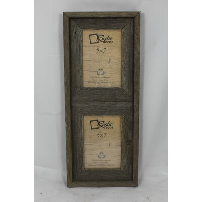 "Barn Wood Vertical 2 Opening Picture Frame Rustic Decor Picture Size: 5"" x 7"""
