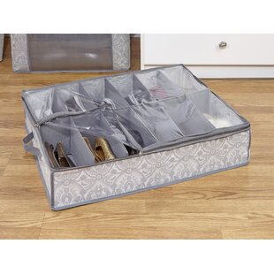 Best Reviews Non Woven 12 Pair Under the Bed Shoe Box By Laura Ashley