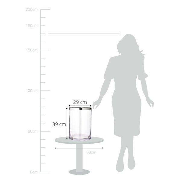 mundgeblasenes Kristallglas mit Platinrand Durchme Höhe 25 cm Windlicht Molly